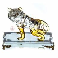 Тигр стеклянный на подставке, 11 см