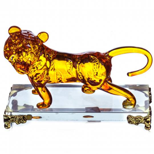 Оранжевый стеклянный тигр на подставке, 11 см