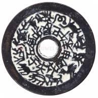 Монета китайская древняя темная круглая большая 43 мм