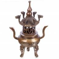 Курительница бронзовая «Головы дракона» пагода, лотос 31*19 см