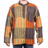 Рубашка плотная на 3 деревянные пуговицы из полосатых лоскутков с карманом на груди длинный рукав