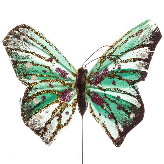 Бабочка декоративная из перьев, различных цветов, размах больших крыльев 9 см
