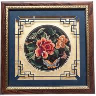 Картина «Пионы и бабочки» вышивка гладью 33*33 см