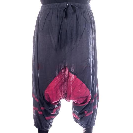 Штаны афгани двухцветные на резинке, хлопок, вставка на матне, внизу на резинке