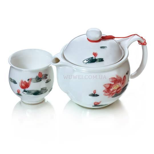 Набор чайный «Лотос» (чайник и 6 пиал)