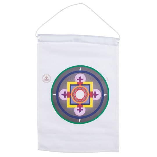 Тханка атласная белая с изображением «Мандала»