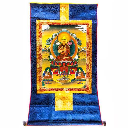 Тханка «Лама Цонкапа с двумя главными учениками»