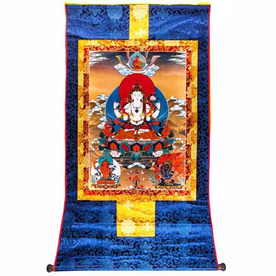 Тханка «Бодхисаттва Авалокитешвара» (Ченрези)