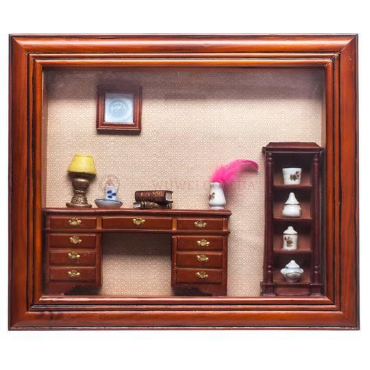 Картина объемная «Сервант», с маленькими предметами внутри.