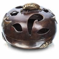 """Курительница """"Кузнечик и бабочки"""" (бронза), 10*11,5 см"""