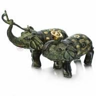 Слоны держащие в хоботе символы (пара), 13,5*11,5+15*13,5 см