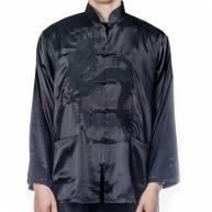 Рубашка черная шелк с драконом мужская
