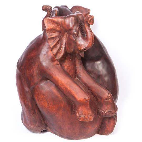 Напольная статуя  «Два слона», дерево