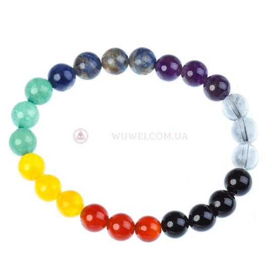 Браслет «7 камней» по три разных круглых бусины каждого камня