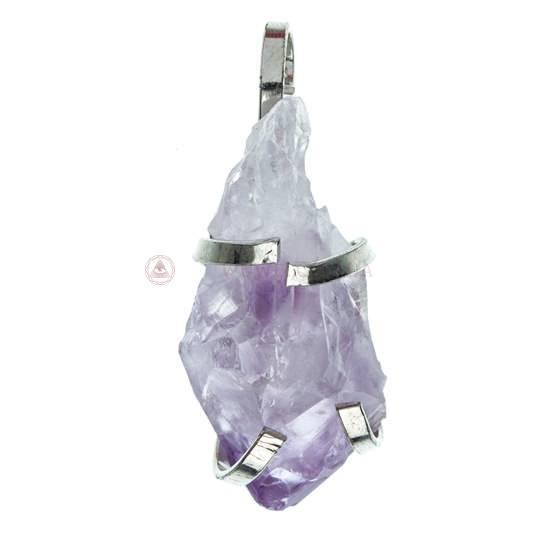 Кулон натуральный камень в ассортименте в металлическом зажиме осколок породы