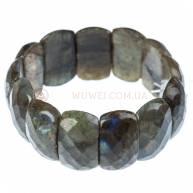 Браслет из Лабрадора на резинке, граненые камни 2,5 см