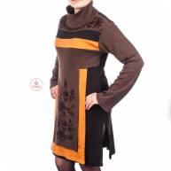Платье с вышивкой, трикотаж, длинный рукав, с горлом